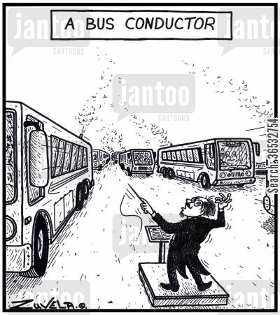orchestra cartoon humor: A Bus Conductor.