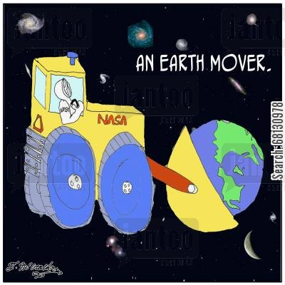 digiging cartoon humor: An Earth Mover.