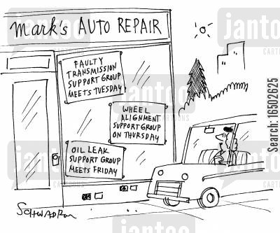 group therapy cartoon humor: Support groups for car repairs.