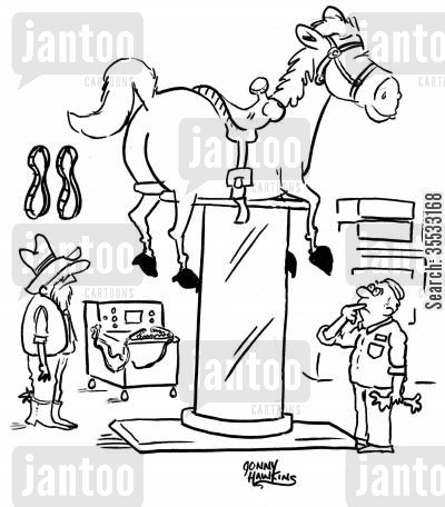 car garages cartoon humor: Cowboy at mechanic with horse hoisted