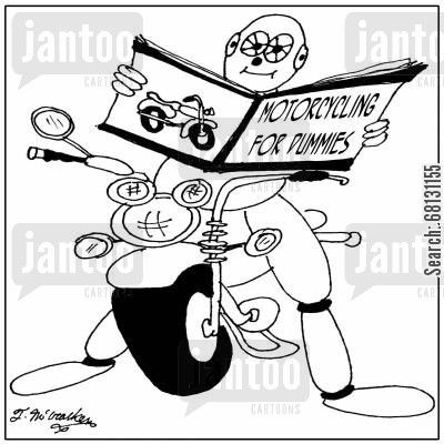 accient cartoon humor: Motorcycling for Dummies.