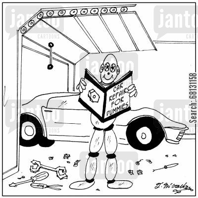 safety check cartoon humor: Car Repair for Dummies