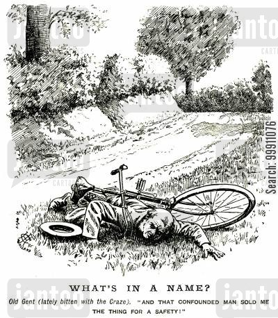 bicyclist cartoon humor: Man who has crashed his safety bicycle