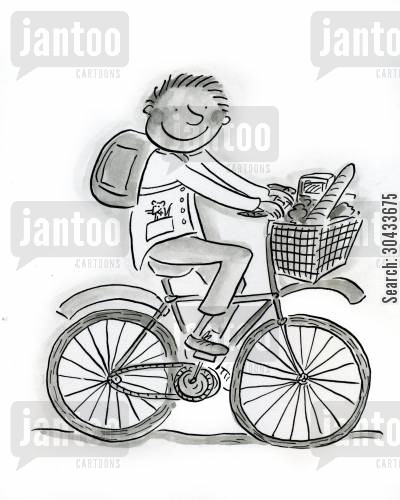 frenchstick cartoon humor: Cyclist