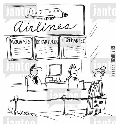 delaying cartoon humor: Stranded at airport