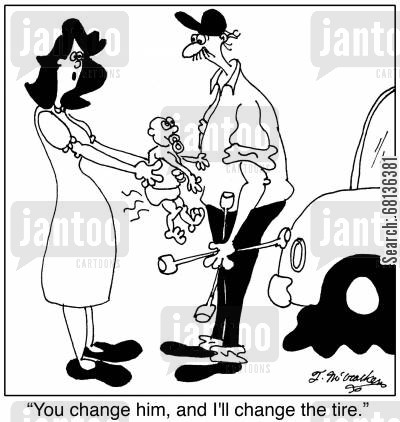 flat tyres cartoon humor: 'You change him, and I'll change the tire.'