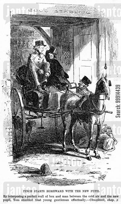 dickens cartoon humor: Pinch starts homeward with the new pupil