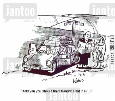 nagging wife cartoon humor: 'I told you you should have bought a sat nav...!'