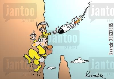 mountain climber cartoon humor: Plane About To Collide Into Mountain Climber.