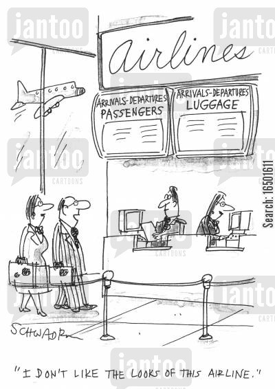 displaced luggage cartoon humor: I don't like the looks of this airline.