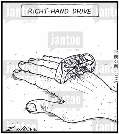 console cartoon humor: Right-hand drive - A right hand with a car steering wheel and console on it.