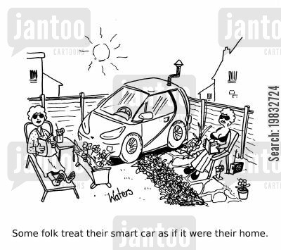 second homes cartoon humor: Some folk treat their smart car as if it were their home.