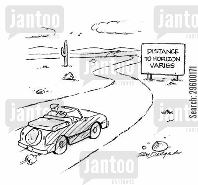 journeying cartoon humor: Distance to horizon varies.