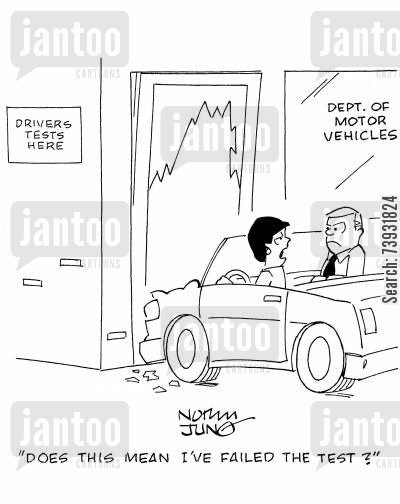 driving licenses cartoon humor: 'Does this mean I've failed the test?'