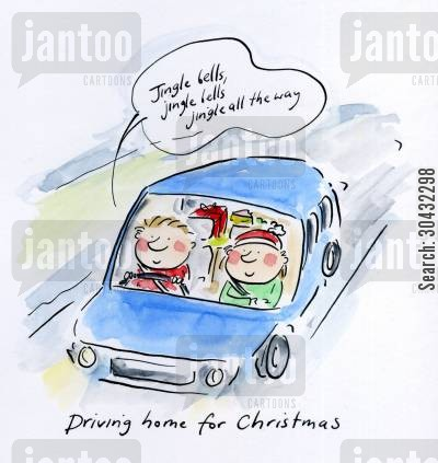 homeward bound cartoon humor: Driving home for Christmas.