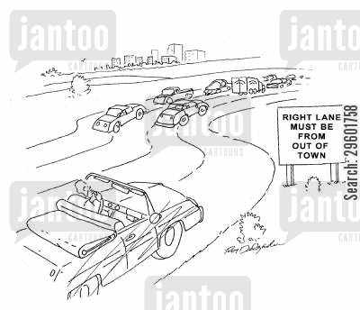 motorway cartoon humor: Right lane must be from out of town.