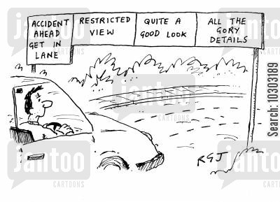 good look cartoon humor: Road accident.