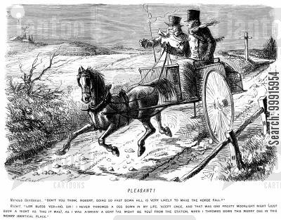 carriage driver cartoon humor: Gentleman nervous of the speed his driver is going downhill