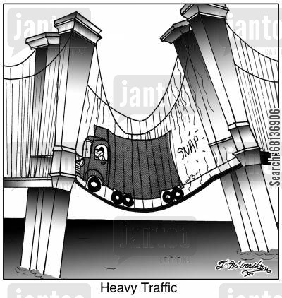 public roads cartoon humor: Heavy Traffic.