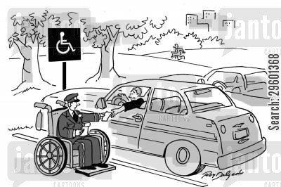 parking spaces cartoon humor: Traffic warden in a wheelchair giving a ticket to a driver in a disabled space.