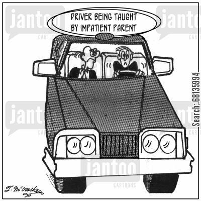 driving teachers cartoon humor: Driver being taught by impatient parent