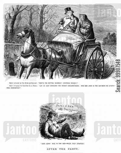 guideman cartoon humor: Horse and Carriage Remembers Lost Passenger.