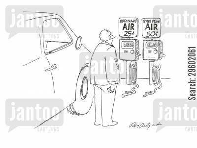 tyres cartoon humor: Extra value air 50c.