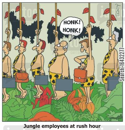 conjestion cartoon humor: Jungle employees at rush hour