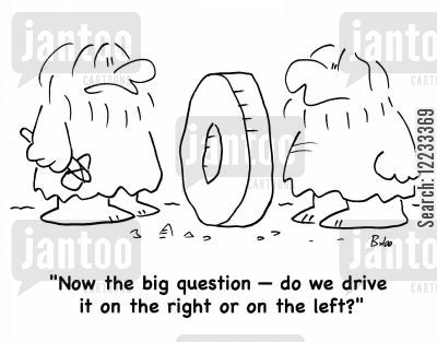 left hand drive cartoon humor: 'Now the big question -- do we drive it on the right or on the left?'