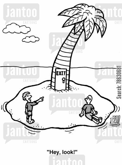 deserted island cartoon humor: 'Hey, look!'