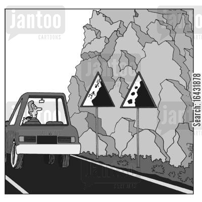 tumbled cartoon humor: Falling road signs