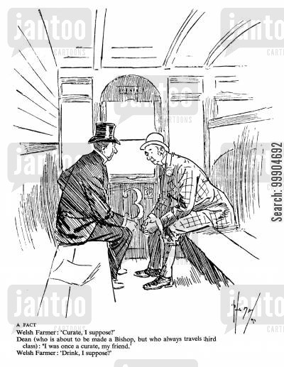 curates cartoon humor: Farmer and dean in a train carriage.