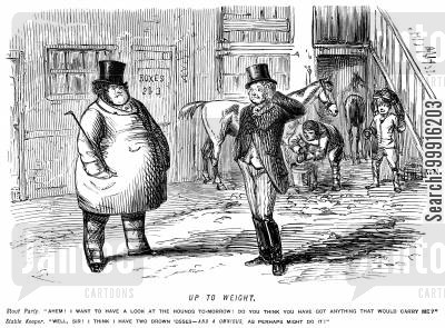 portly cartoon humor: Fat man asking for something that would carry him and stable keeper suggesting an omnibus