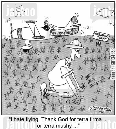 firm ground cartoon humor: 'I hate flying. Thank God for terra firma ... or terra mushy ...'