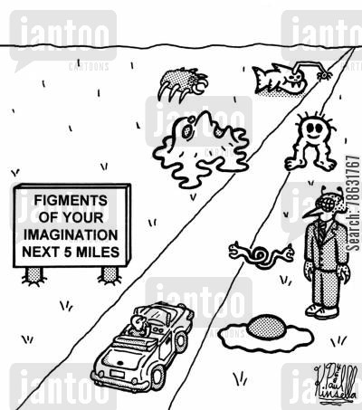 convertible cartoon humor: Figments of your imagination next 5 miles.