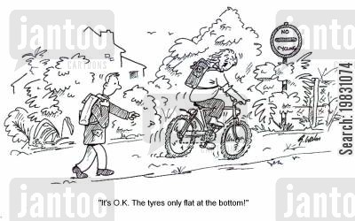 flat tyre cartoon humor: 'It's O.K.It's only flat at the bottom!'