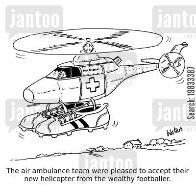 charity donation cartoon humor: The air ambulance team were pleased to accept their new helicopter from the wealthy footballer.