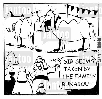 family car cartoon humor: Sir seems taken by the family runabout.
