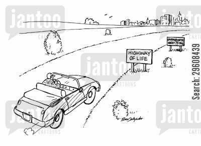 highways cartoon humor: Highway of life.