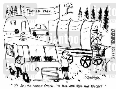 camper vans cartoon humor: 'It's just our way of saying, 'to hell with high gas prices!''