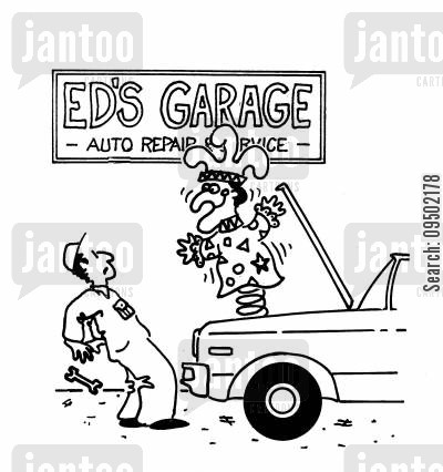 auto service cartoon humor: Jack-in-the-box popping out of car bonnet.