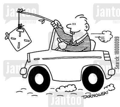 fishing line cartoon humor: Encouraging a car with a fuel can on a stick (black and white).