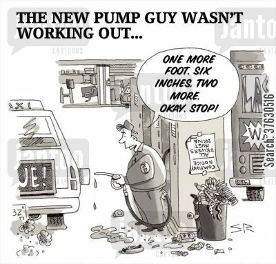pumps cartoon humor: The New Pump Guy Wasn't Working Out.
