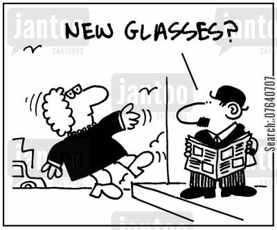 prescription spectacles cartoon humor: 'New Glasses?'