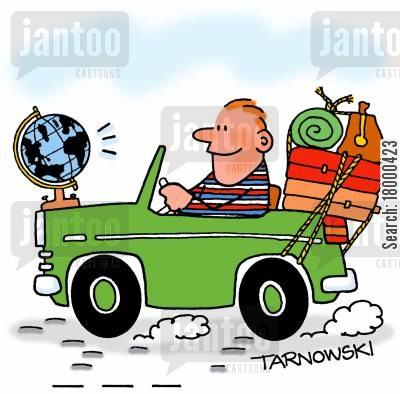 traveller cartoon humor: Traveller with a globe on the front of his car.