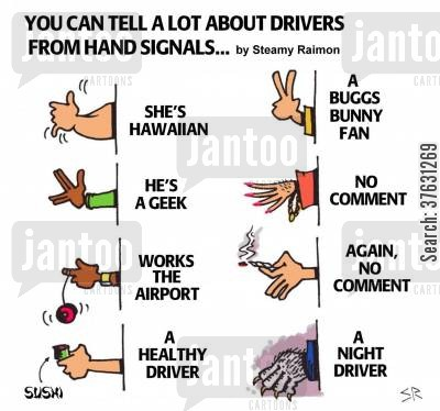 hawaii cartoon humor: Driver Hand Signals.