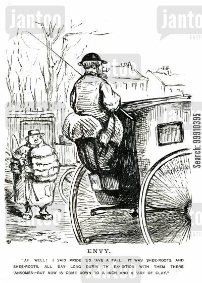 great exhibition cartoon humor: Hansom cab driver smoking a pipe