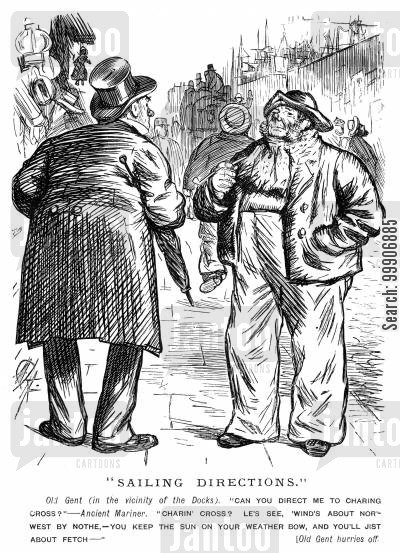 harbour cartoon humor: A man asking a sailor for directions