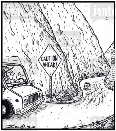 road cartoon humor: Caution Ahead!
