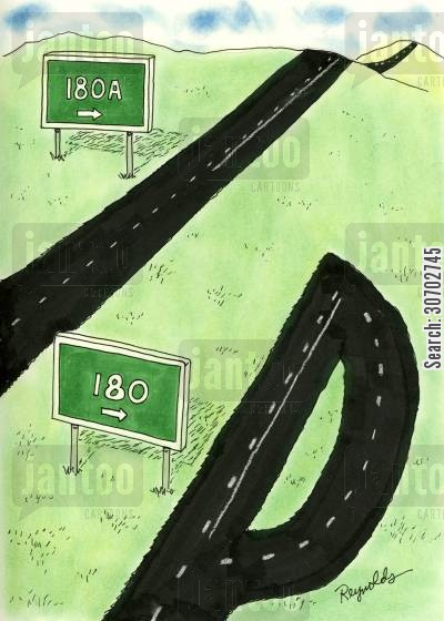 ring road cartoon humor: 180A 180.